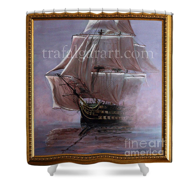 Battle Of Trafalgar Shower Curtain featuring the painting Hms Victory 1765 39 X 36 Inch 100 X 91 Cm by Richard John Holden RA