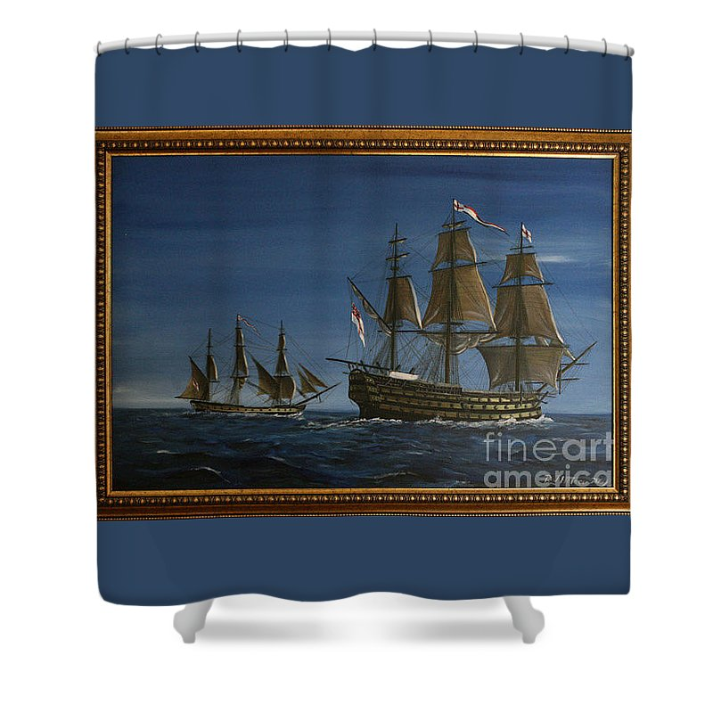 Battle Of Trafalgar Shower Curtain featuring the painting Hms Victory Dawn by Richard John Holden RA