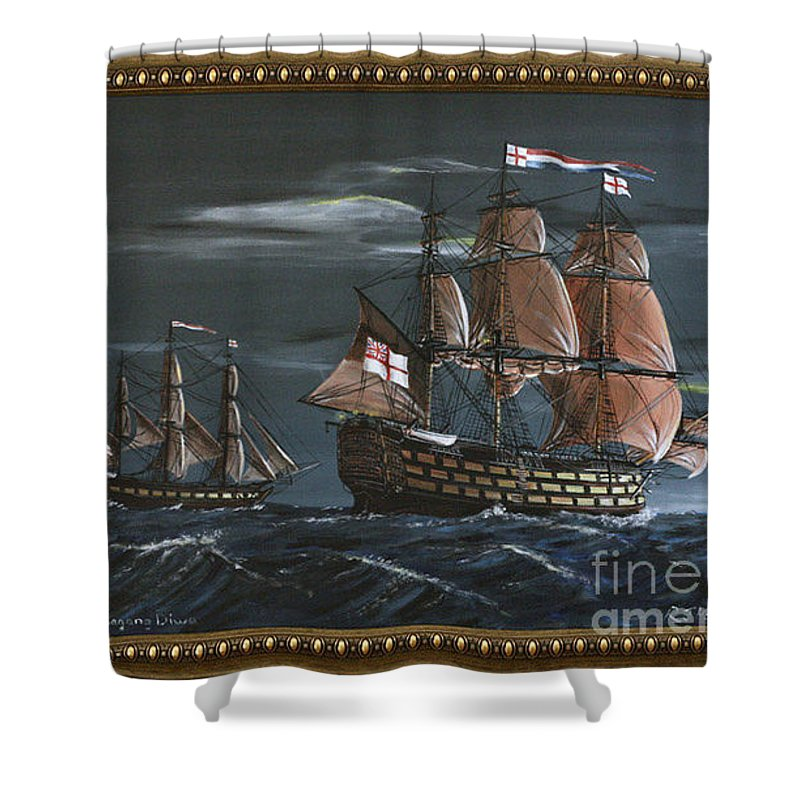 Battle Of Trafalgar Shower Curtain featuring the painting Hms Victory Early Wind by Richard John Holden RA