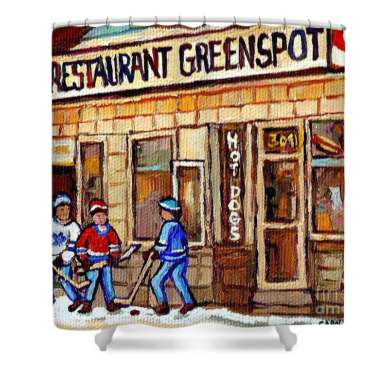 Restaurant Greenspot Shower Curtain featuring the painting Hockey And Hotdogs At The Greenspot Diner Montreal Hockey Art Paintings Winter City Scenes by Carole Spandau