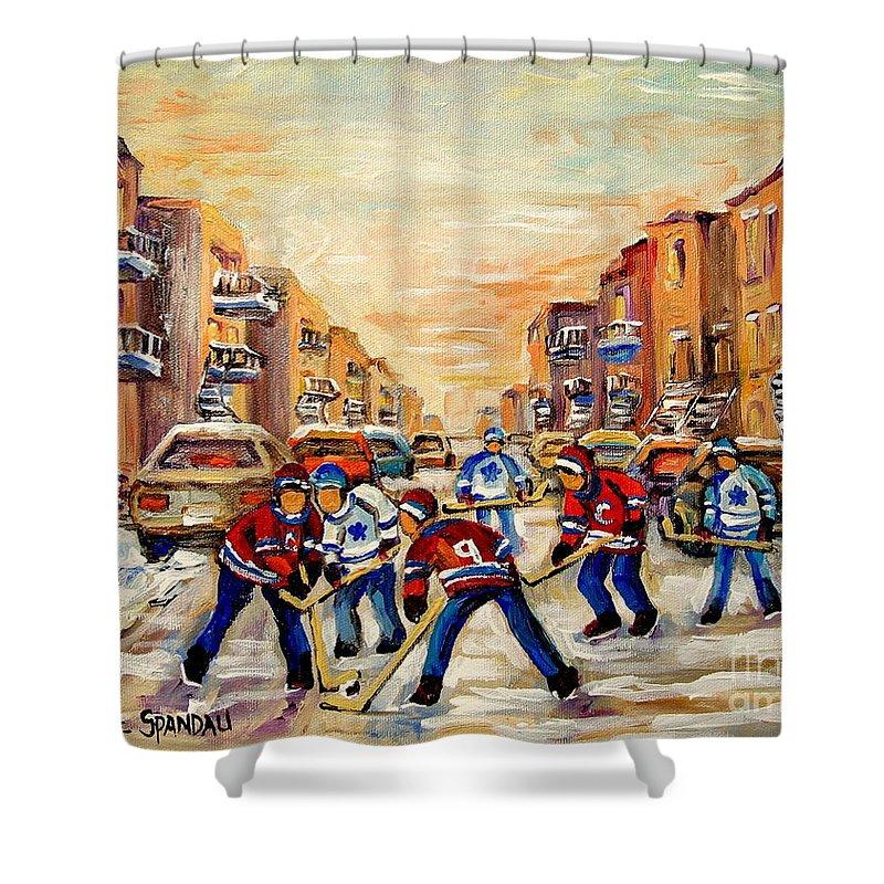 Hockey Daze Shower Curtain featuring the painting Hockey Daze by Carole Spandau