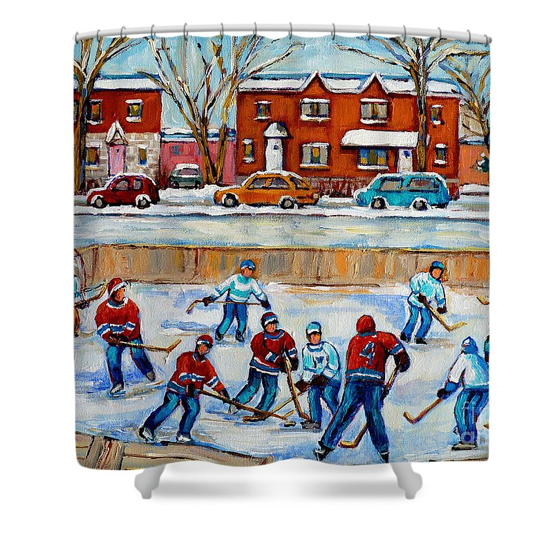 Hockey At Van Horne Montreal Shower Curtain featuring the painting Hockey Rink At Van Horne Montreal by Carole Spandau