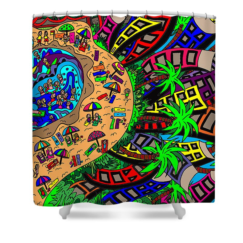 Original Art Shower Curtain featuring the painting Holiday By The Sea by Karen Elzinga