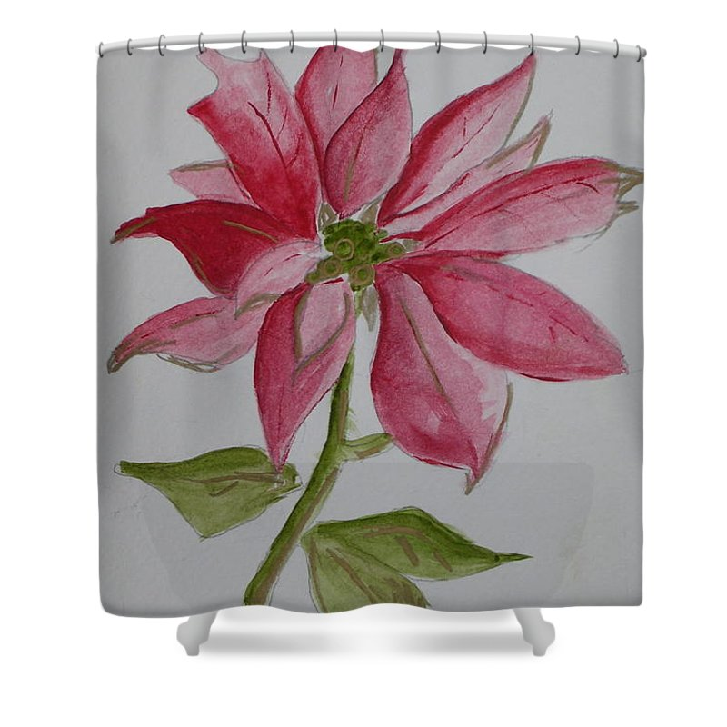 Flower Christmas Shower Curtain featuring the painting Holiday Flower by Patricia Caldwell