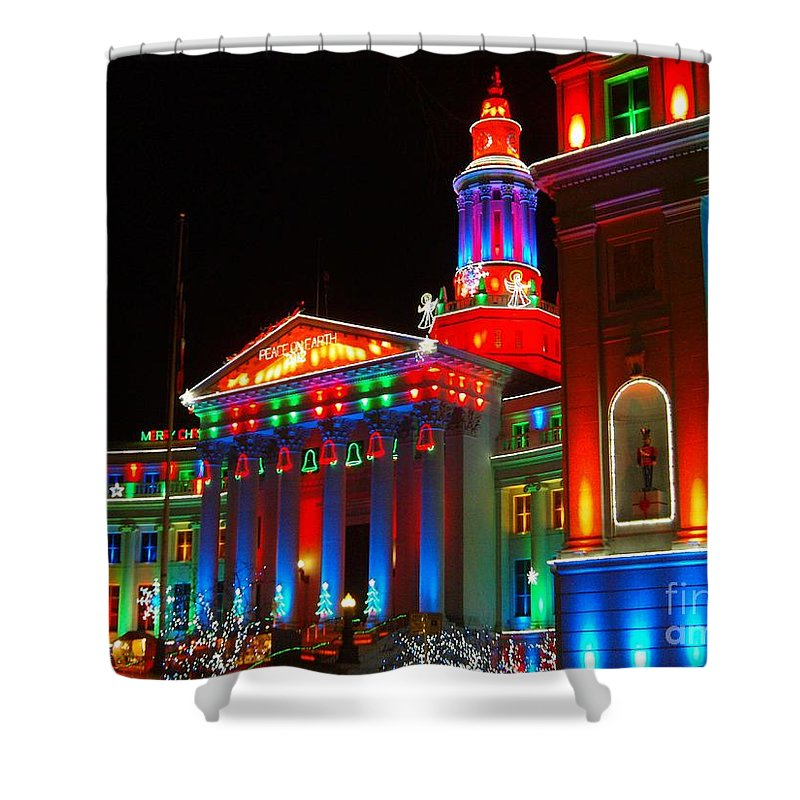 Holiday Lights 2012 Denver City And County Building Shower Curtain featuring the photograph Holiday Lights 2012 Denver City And County Building B2 by Feile Case