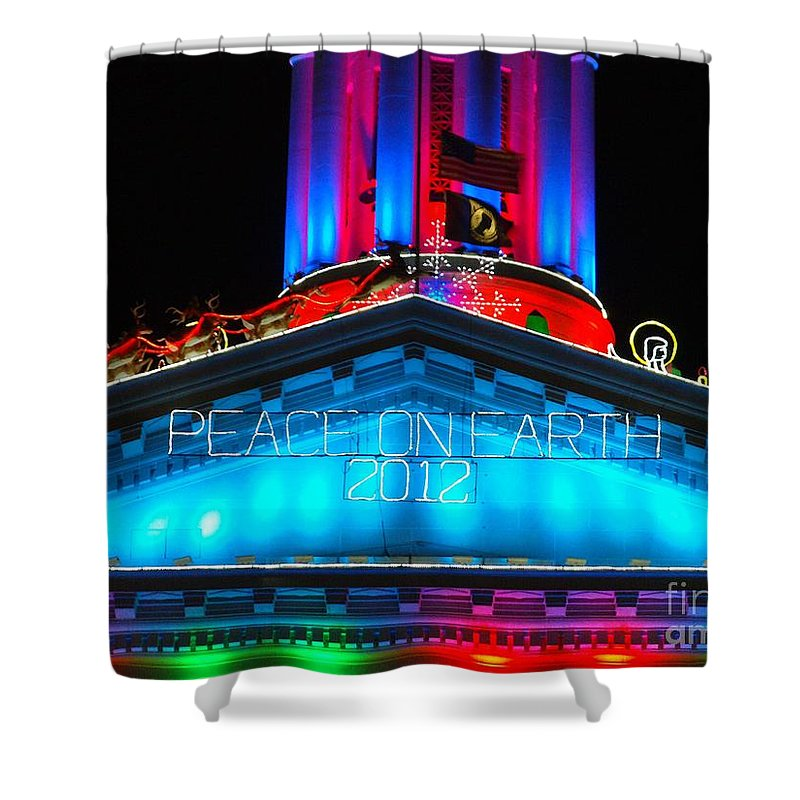 Holiday Lights 2012 Denver City And County Building Shower Curtain featuring the photograph Holiday Lights 2012 Denver City And County Building E3 by Feile Case