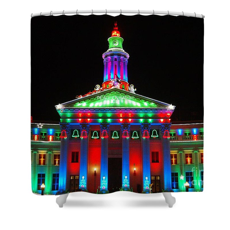 Holiday Lights 2012 Denver City And County Building Shower Curtain featuring the photograph Holiday Lights 2012 Denver City And County Building G1 by Feile Case