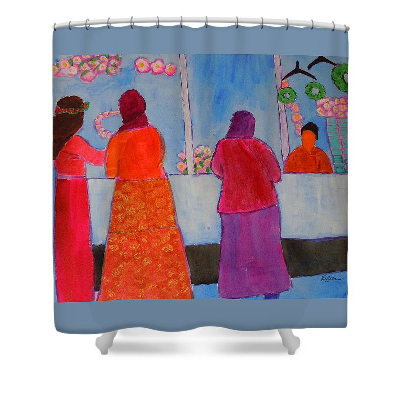 Turkish Island Shower Curtain featuring the painting Holiday Shoppers On Prince Island by Eileen Tascioglu