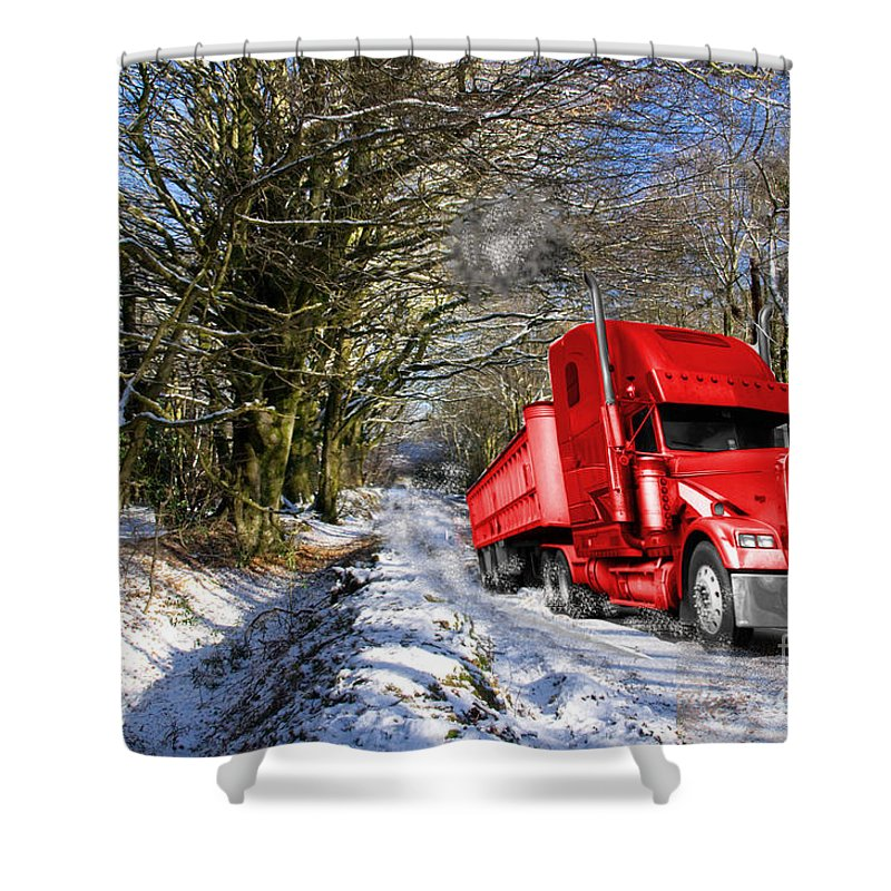 Lorry Shower Curtain featuring the photograph Holidays Are Coming by Rob Hawkins