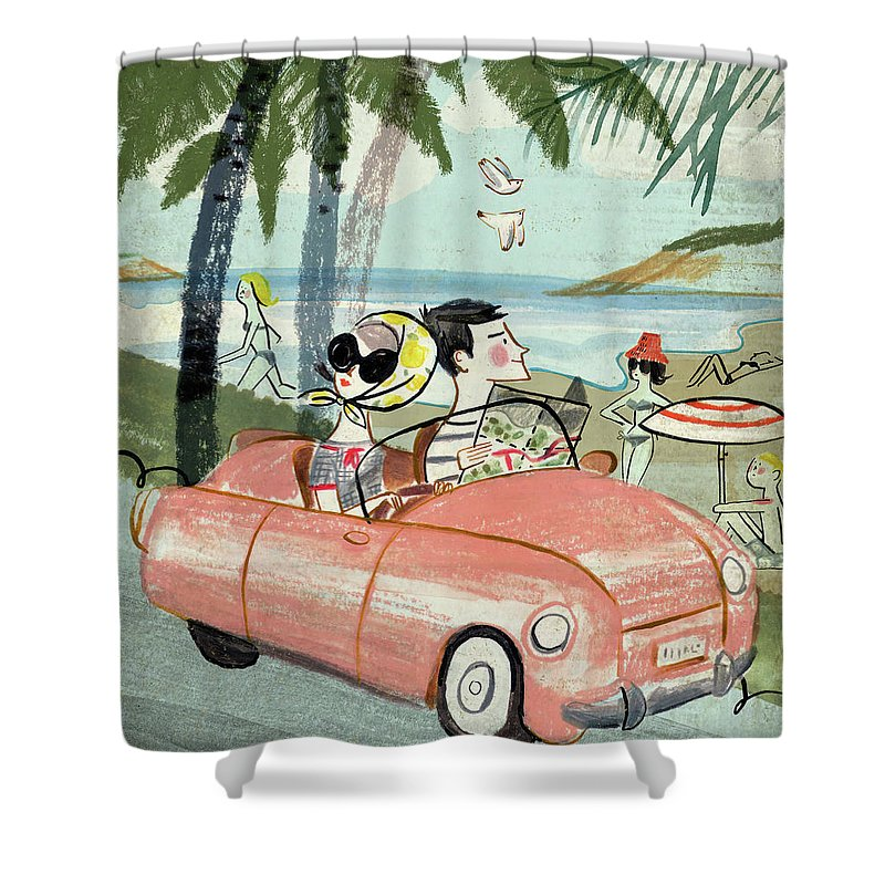 Transfer Print Shower Curtain featuring the digital art Holidays by Luciano Lozano