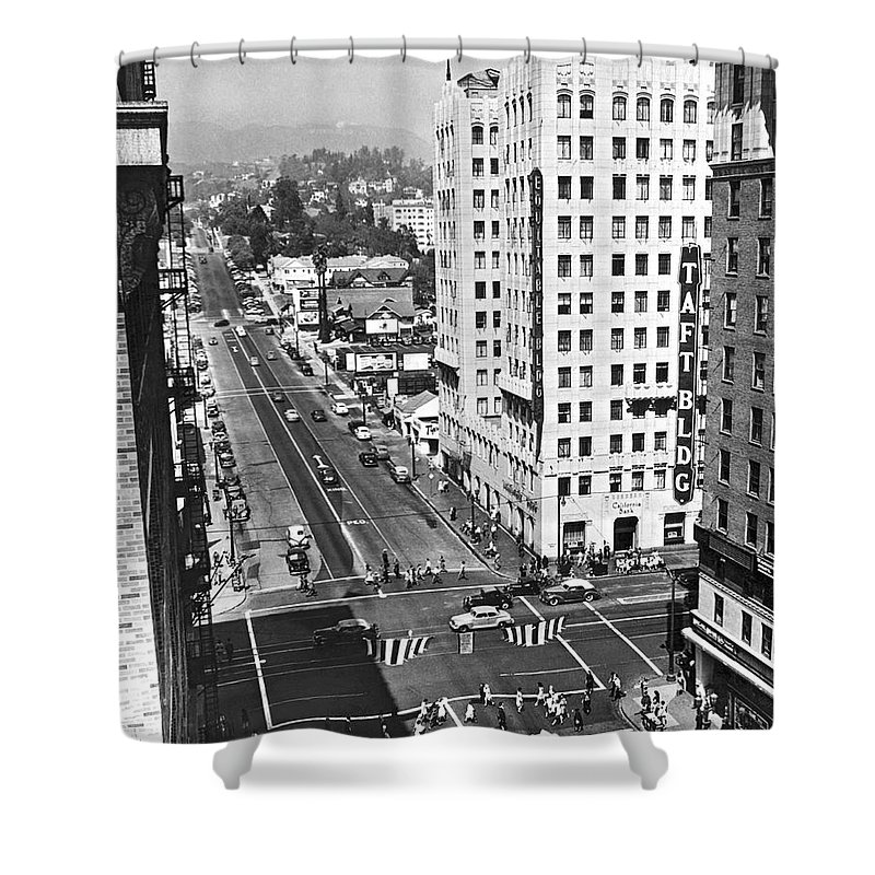 1940s Shower Curtain featuring the photograph Hollywood And Vine In La by Underwood Archives