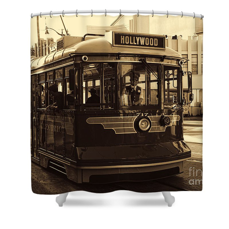 Buena Vista Street Shower Curtain featuring the photograph Hollywood Trolley by Tommy Anderson