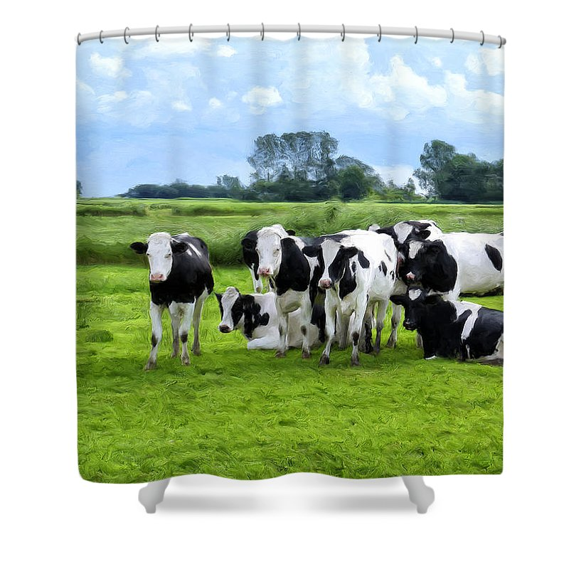 Cattle Shower Curtain featuring the painting Holstein Heaven by Dominic Piperata