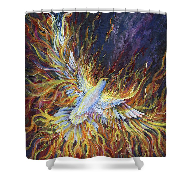 Holy Spirit Shower Curtain featuring the painting Holy Fire by Nancy Cupp