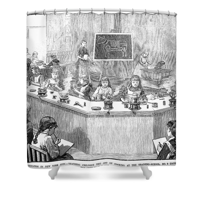 1886 Shower Curtain featuring the photograph Home Economics Class, 1886 by Granger