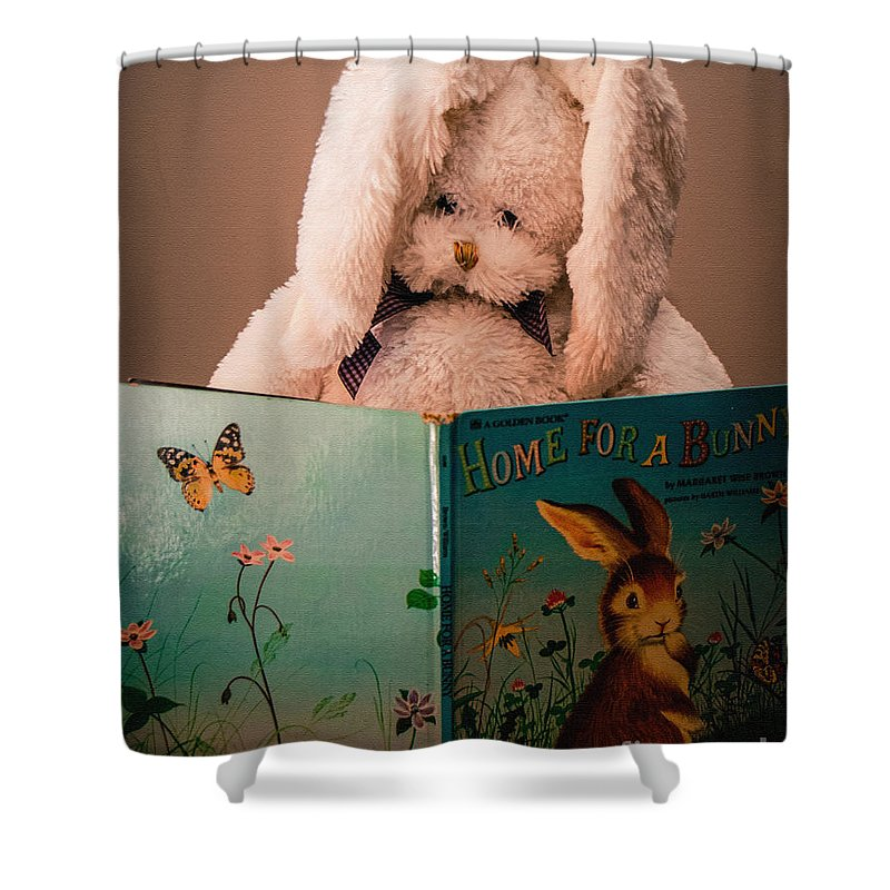 Rabbit Shower Curtain featuring the photograph Home For A Bunny 1 by Grace Grogan