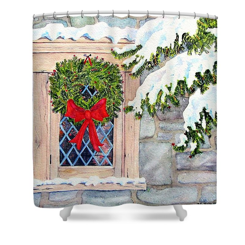 Card Shower Curtain featuring the painting Home For The Holidays by Mary Ellen Mueller Legault
