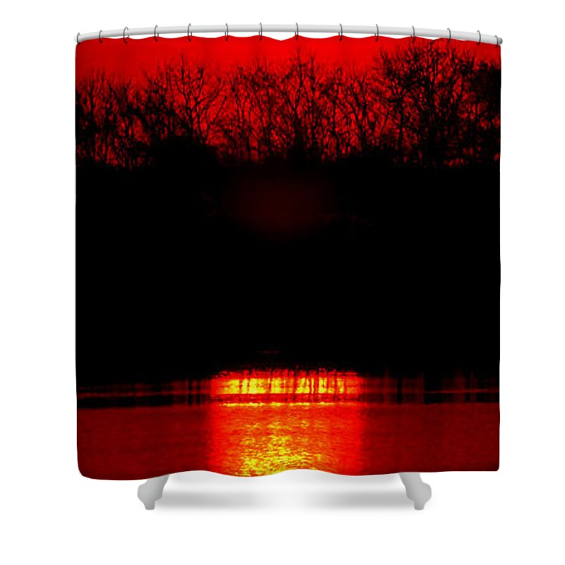 Sunset Shower Curtain featuring the photograph Home by Olivier Le Queinec
