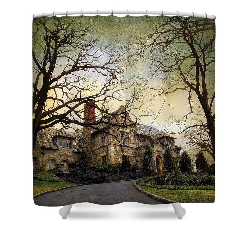 House Shower Curtain featuring the photograph Home On A Hill by Jessica Jenney