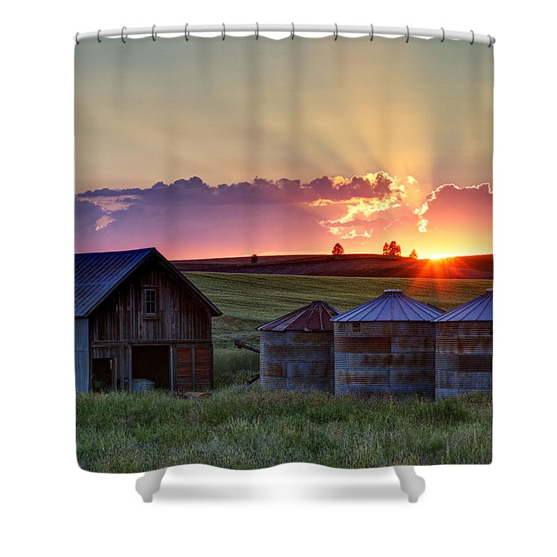 Cheney Shower Curtain featuring the photograph Home Town Sunset by Mark Kiver