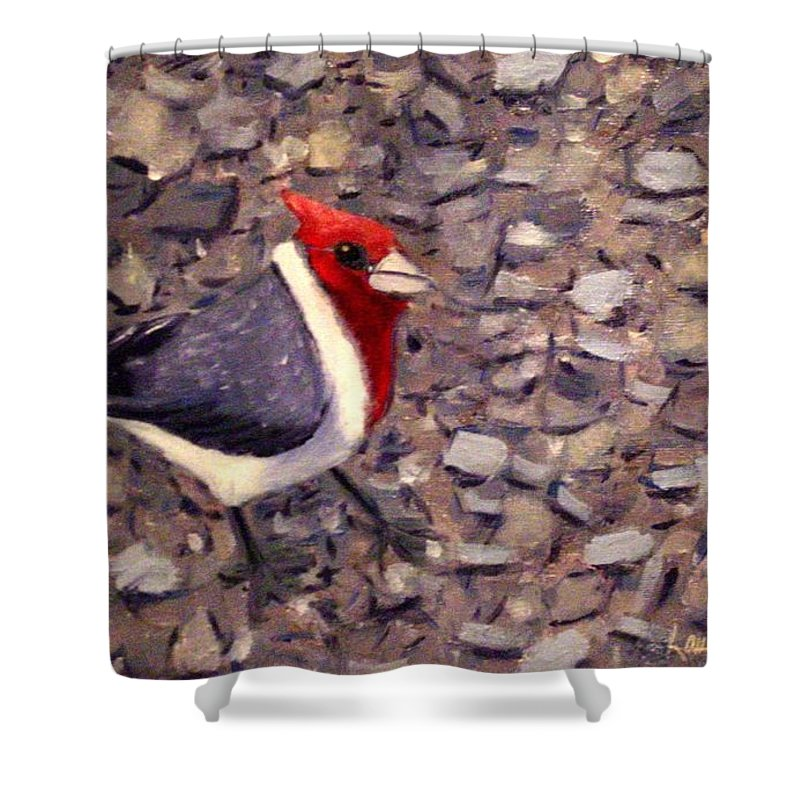 Bird Shower Curtain featuring the painting Home Turf by Laurie Morgan