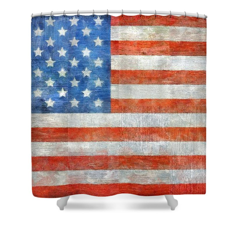 Flag Shower Curtain featuring the painting Homeland by Michelle Calkins