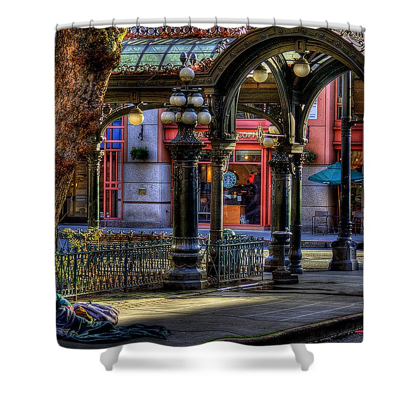 The Pergola Shower Curtain featuring the photograph Homeless In Seattle by David Patterson