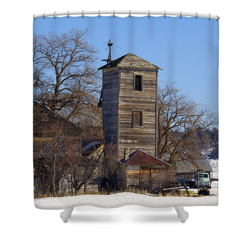 Old Shower Curtain featuring the photograph Homer's Pumphouse by Kathleen Bishop