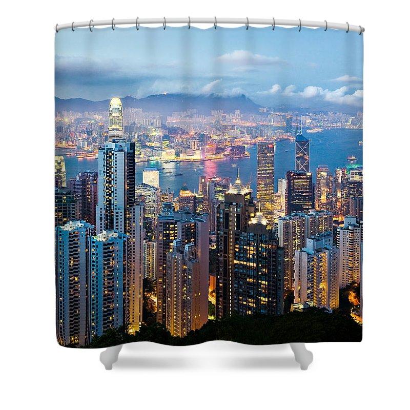 Hong Kong Shower Curtain featuring the photograph Hong Kong At Dusk by Dave Bowman