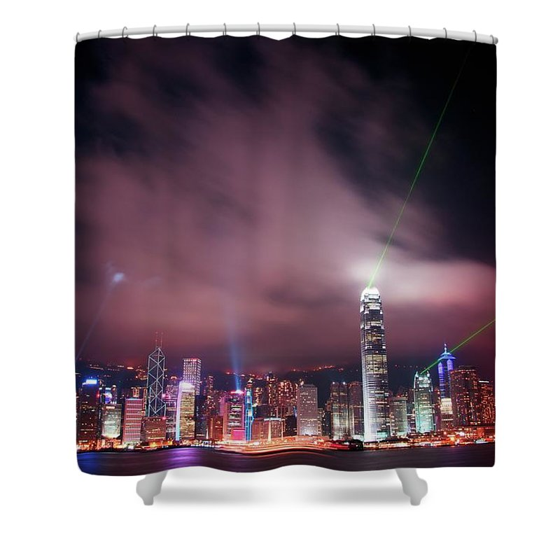 Tranquility Shower Curtain featuring the photograph Hong Kong Laser Lights by Photo By Dan Goldberger