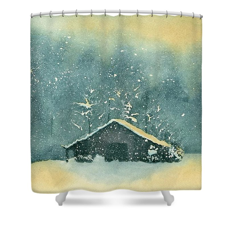 Watercolor Shower Curtain featuring the painting Hope Amidst The Storm by Brett Winn