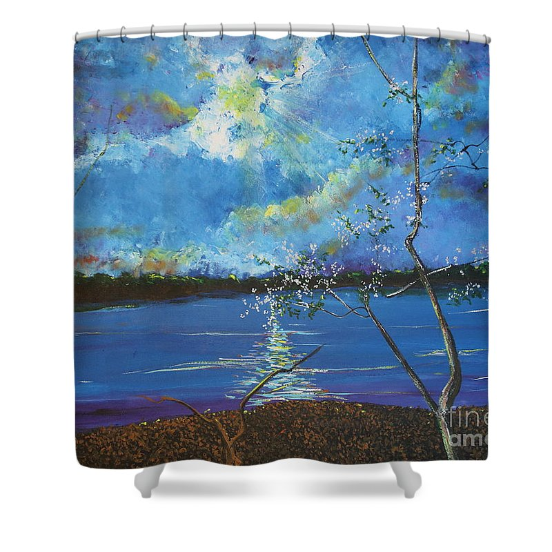 Landscape Shower Curtain featuring the painting Hope Prevailing by Stefan Duncan