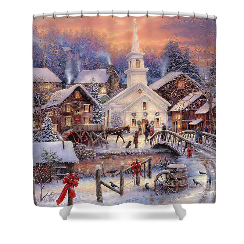 Snow Village Shower Curtain featuring the painting Hope Runs Deep by Chuck Pinson