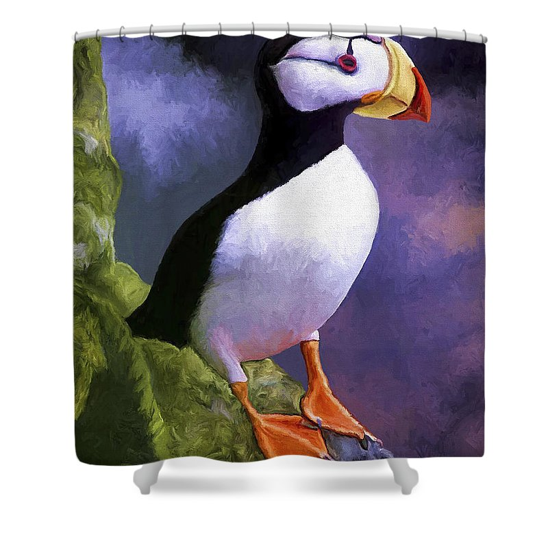 Animal Shower Curtain featuring the painting Horned Puffin by David Wagner