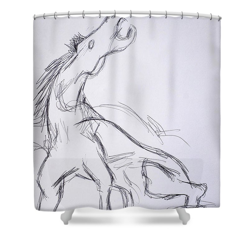 Paul Sutcliffe Art Shower Curtain Featuring The Drawing Horse After Picasso By