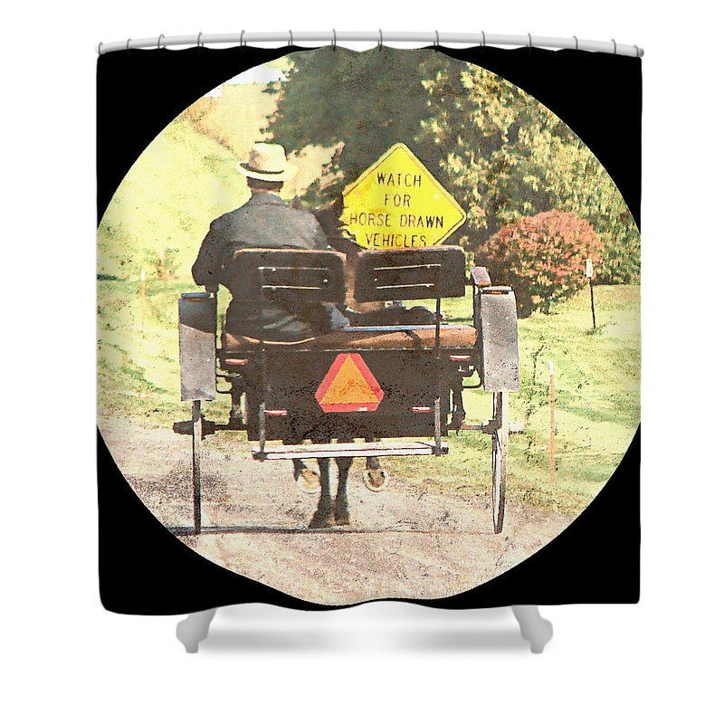 Amish Shower Curtain featuring the digital art Horse Drawn Vechicles Round by Cassie Peters