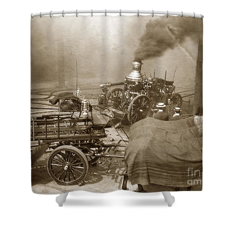 Fire Truck Shower Curtain Featuring The Photograph Horse Drawn Water Steam Pumper Circa 1906