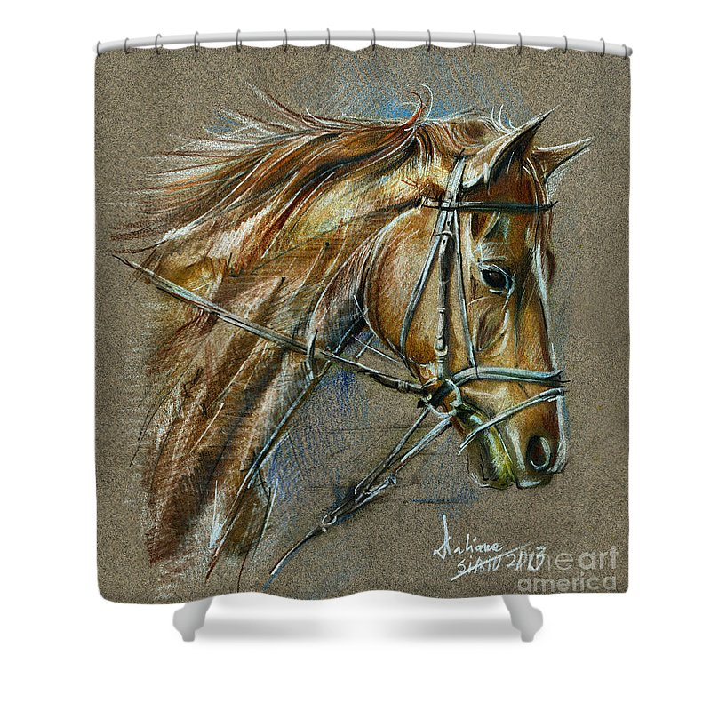 Horse Shower Curtain featuring the drawing My Horse Face Drawing by Daliana Pacuraru