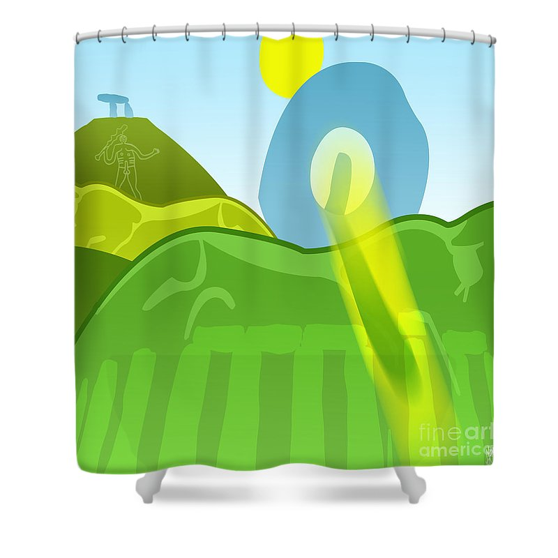 Ancient Shower Curtain featuring the digital art Horse Hills by Neil Finnemore