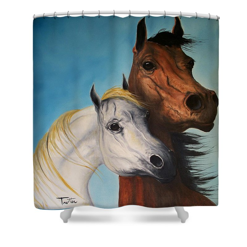 Horse Shower Curtain featuring the painting Horse Lovers by Patrick Trotter