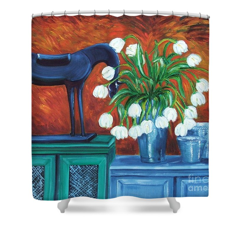 Still-life Shower Curtain featuring the painting Horse On The Cupboard by Caroline Street