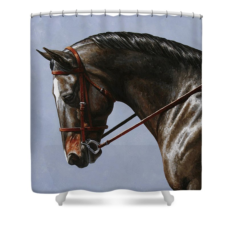 Horse Shower Curtain featuring the painting Horse Painting - Discipline by Crista Forest