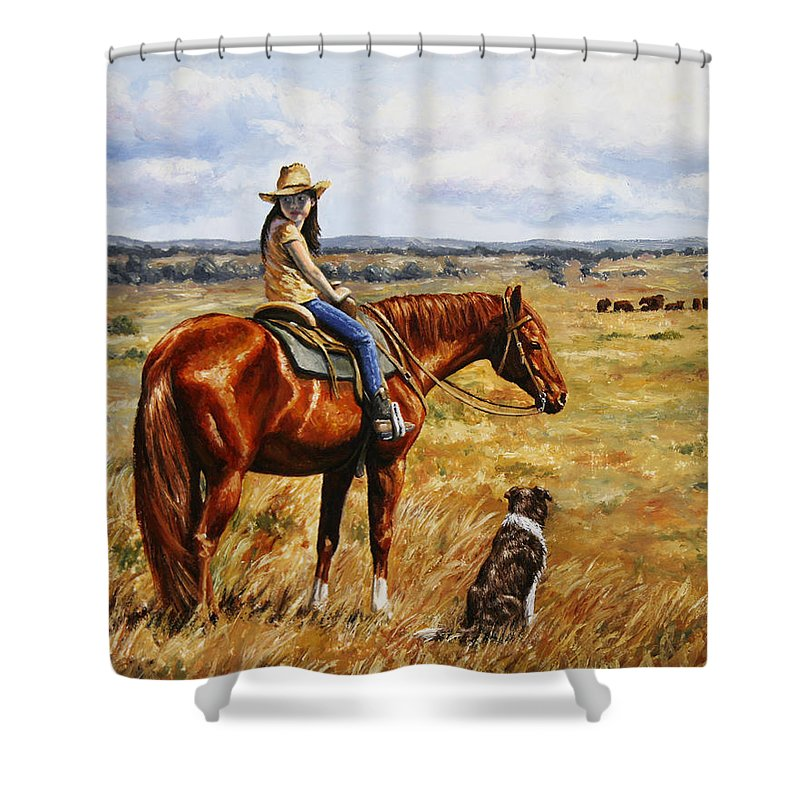 Western Shower Curtain featuring the painting Horse Painting - Waiting For Dad by Crista Forest