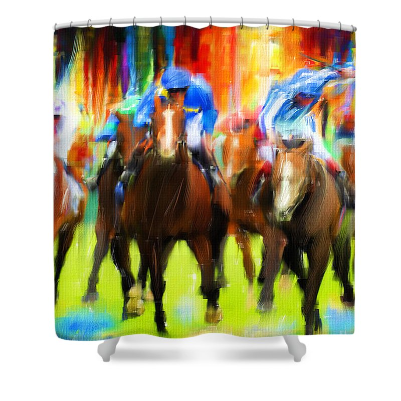 Horse Racing Shower Curtain Featuring The Digital Art By Lourry Legarde
