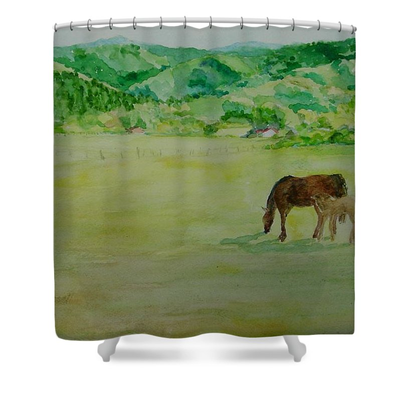 Rural Landscape Painting Shower Curtain featuring the painting Horses Mare Foal Pastures Rural Landscape Original Art Oregon Western Artist K. Joann Russell by K Joann Russell