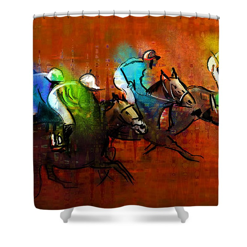 Sports Shower Curtain featuring the painting Horses Racing 01 by Miki De Goodaboom
