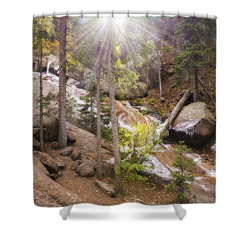Horsethief Creek Falls Divide Cripple Creek Colorado Landscape Shower Curtain featuring the photograph Horsethief Falls Sunburst - Cripple Creek Colorado by Brian Harig