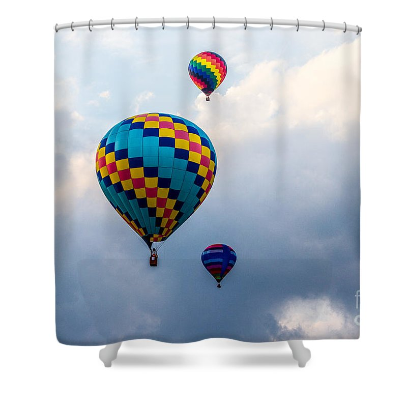 Events Shower Curtain featuring the photograph Hot Air Balloon Trio by Eleanor Abramson