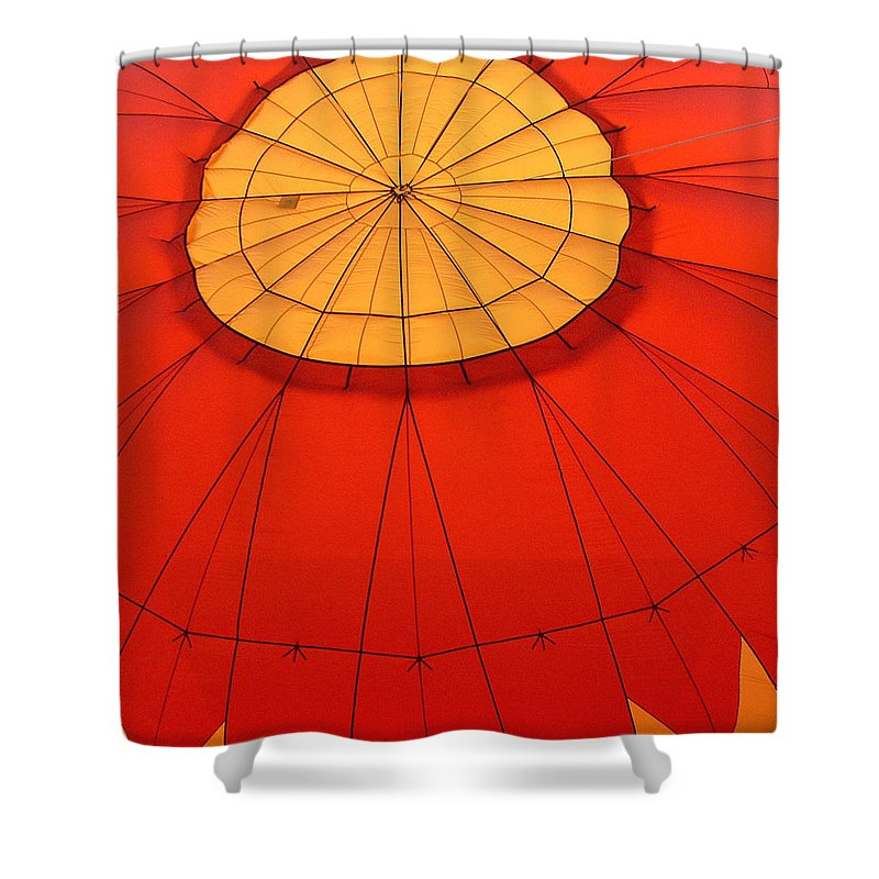 Reno Shower Curtain featuring the photograph Hot Air Balloon At Dawn by Art Block Collections