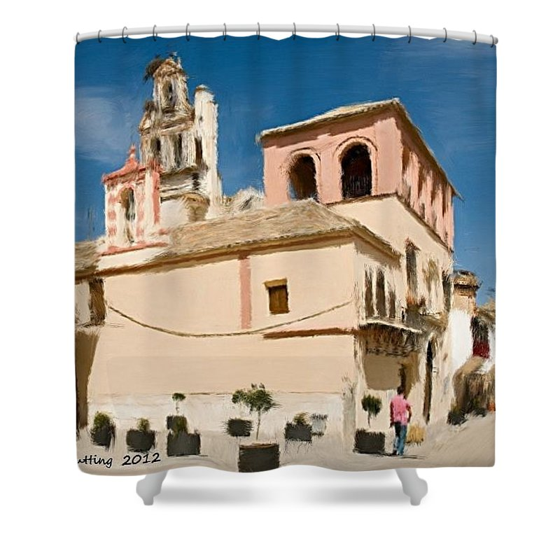 Ecija Shower Curtain featuring the painting Hot And Sunny Afternoon In Ecija by Bruce Nutting